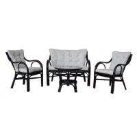 Комплект мебели из ротанга MAX POINT DESIGN MPD-AMAZON DARK BROWN/COTTON VW