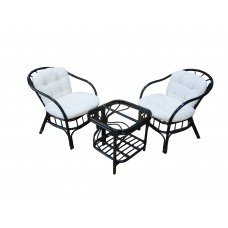 Комплект мебели из ротанга MAX POINT DESIGN MPD-ROGER BLACK/COTTON VW